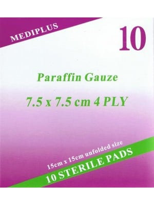 פד פרפין לכוויות פצעי לחץ פצעים עמוקים 10 פדי פארפין סטריליים